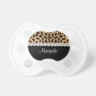 Personalized White Pearls And Leopard Pacifier