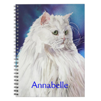 Personalized White Persian Cat Art Spiral Notebook