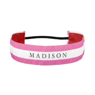 Personalized White Pink Non Slip Headband for Girl