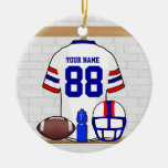 Personalized White RB Football Grid Iron Jersey Christmas Ornament