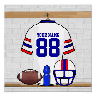 Personalized White RB Football Grid Iron Jersey Print
