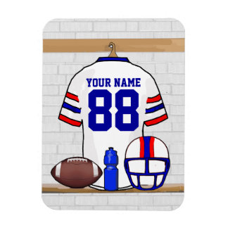 Personalized White RB Football Grid Iron Jersey Rectangle Magnet