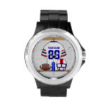 Personalized White RB Football Grid Iron Jersey Wristwatch