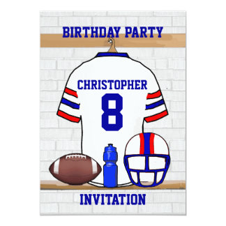 Personalized White RB Football Jersey Birthday Card