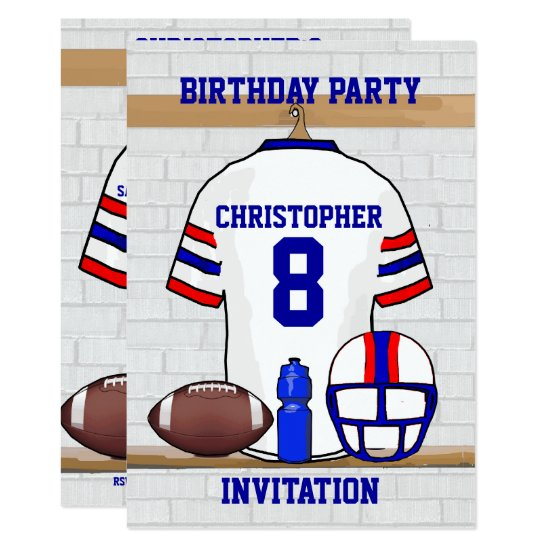 Personalized White RB Football Jersey Birthday Invitation