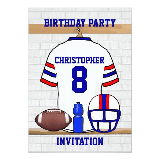 Personalized White RB Football Jersey Birthday 5x7 Paper Invitation Card