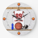 Personalized white Red Basketball Jersey Round Clocks