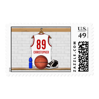 Personalized White Red Basketball Jersey Postage