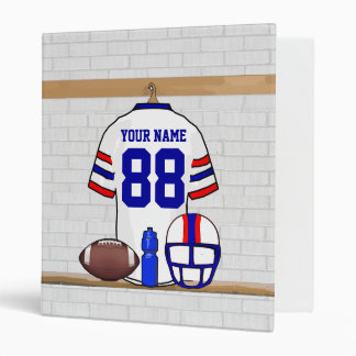 Personalized White Red Blue Football Jersey 3 Ring Binder