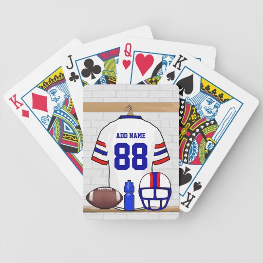 Personalized White Red Blue Football Jersey Bicycle Playing Cards