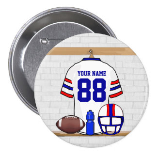 Personalized White Red Blue Football Jersey 3 Inch Round Button