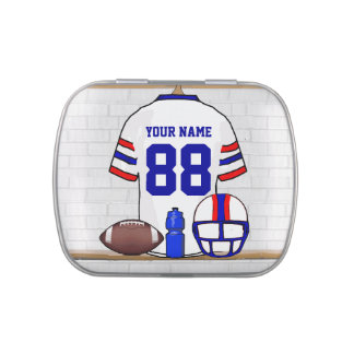 Personalized White Red Blue Football Jersey Candy Tins