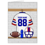Personalized White Red Blue Football Jersey Card
