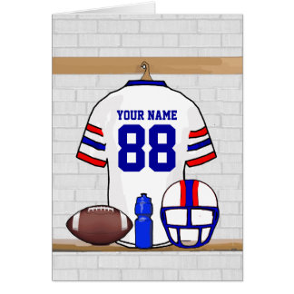 Personalized White Red Blue Football Jersey Greeting Card