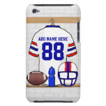 Personalized White Red Blue Football Jersey iPod Touch Covers