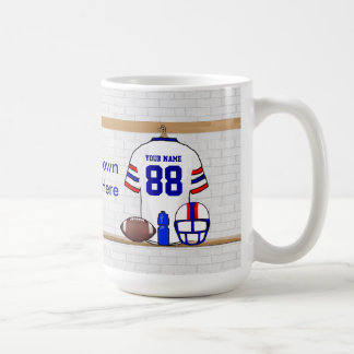 Personalized White Red Blue Football Jersey Coffee Mug