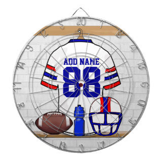 Personalized White Red Blue Football Jersey Dart Board