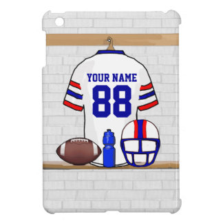 Personalized White Red Blue Football Jersey Cover For The iPad Mini