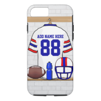 Personalized White Red Blue Football Jersey iPhone 7 Case