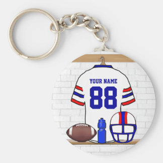 Personalized White Red Blue Football Jersey Basic Round Button Keychain