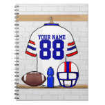 Personalized White Red Blue Football Jersey Spiral Note Books