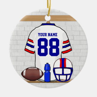 Personalized White Red Blue Football Jersey Double-Sided Ceramic Round Christmas Ornament