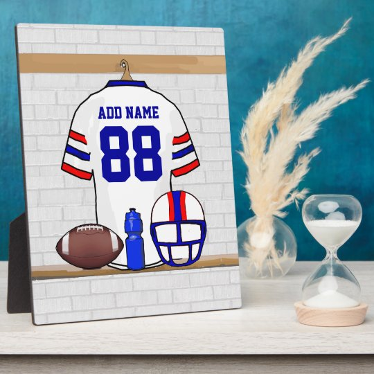 Personalized White Red Blue Football Jersey Plaque