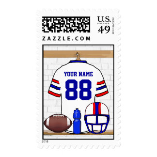 Personalized White Red Blue Football Jersey Postage Stamp