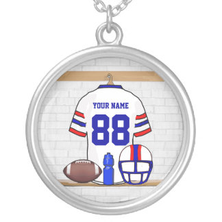 Personalized White Red Blue Football Jersey Silver Plated Necklace
