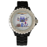 Personalized White Red Blue Football Jersey Wristwatch