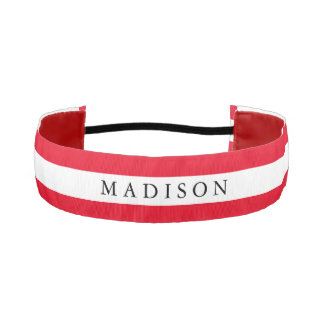 Personalized White Red Non Slip Headband for Girls