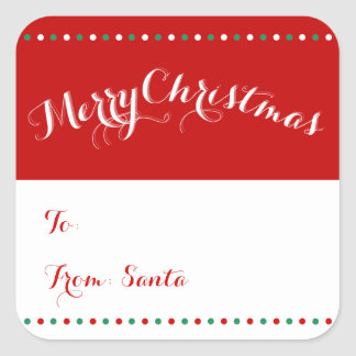 Personalized White Red Square Christmas Gift Tags Square Sticker