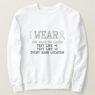 Personalized White Ribbon Awareness Embroidery Embroidered Sweatshirt