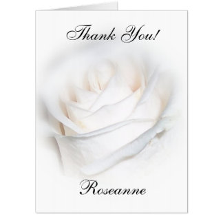 Personalized White Rose Thank You Card