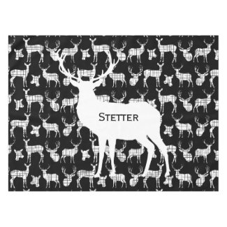 Personalized White Rustic Deer on Black Tablecloth