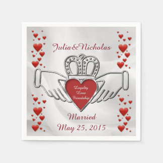 Personalized White Satin Claddagh Symbol Napkins Standard Cocktail Napkin