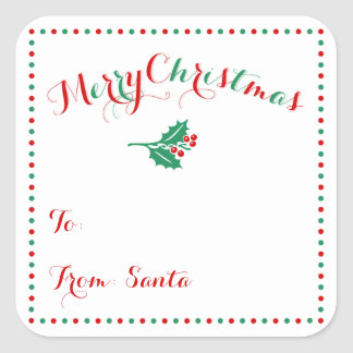 Personalized White Square Christmas Gift Tags
