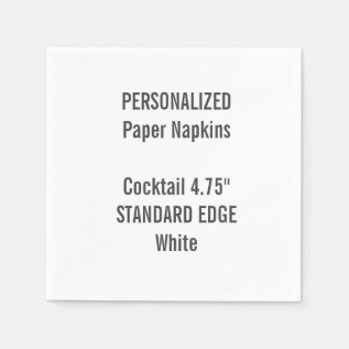 Personalized White Standard Cocktail Paper Napkins at Zazzle