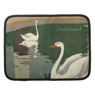 Personalized White Swans Folio Planners