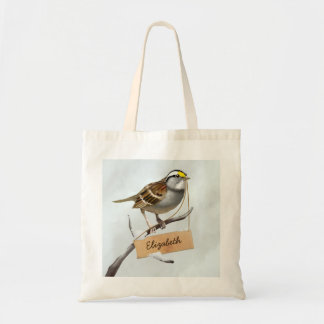Personalized White throated sparrow Tote Bag