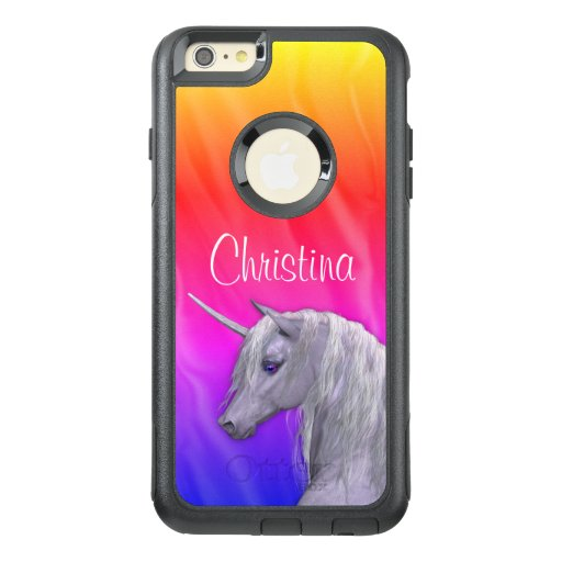 Personalized White Unicorn and Rainbow OtterBox iPhone 6/6s Plus Case