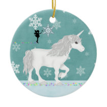 Personalized White Unicorn, Fairy and Snowflakes Ceramic Ornament
