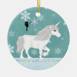 Personalized White Unicorn, Fairy and Snowflakes Ceramic Ornament