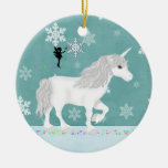 Personalized White Unicorn, Fairy and Snowflakes Double-Sided Ceramic Round Christmas Ornament