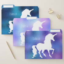 Personalized White Unicorn Silhouette Faux Foil File Folder