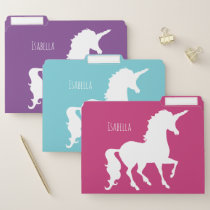 Personalized White Unicorn Silhouette Feminine File Folder