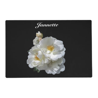 Personalized White Wild Rose Floral Placemat