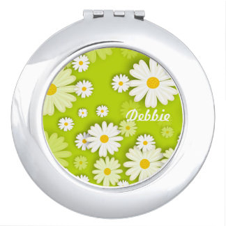 Personalized White Yellow Daisies on Lime Green Compact Mirror