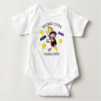 Personalized Wicked Cute Halloween Witch Baby Bodysuit