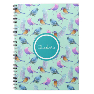 Personalized Wild Exotic Birds Watercolor Pattern Notebook